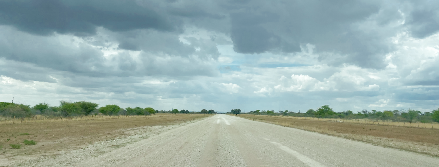 gravel road to mope village etosha national park